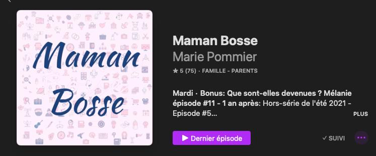 page emission maman bosse apple podcast